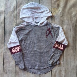 Girls Softball ⚾️ Hooded Long-Sleeve Shirt